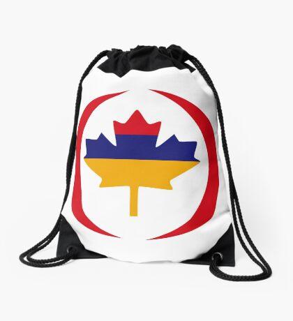 Armenian Canadian Multinational Patriot Flag Series Drawstring Bag