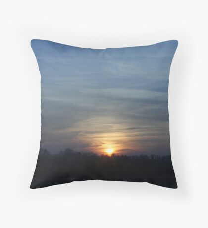 sunset in the night time sky Throw Pillow