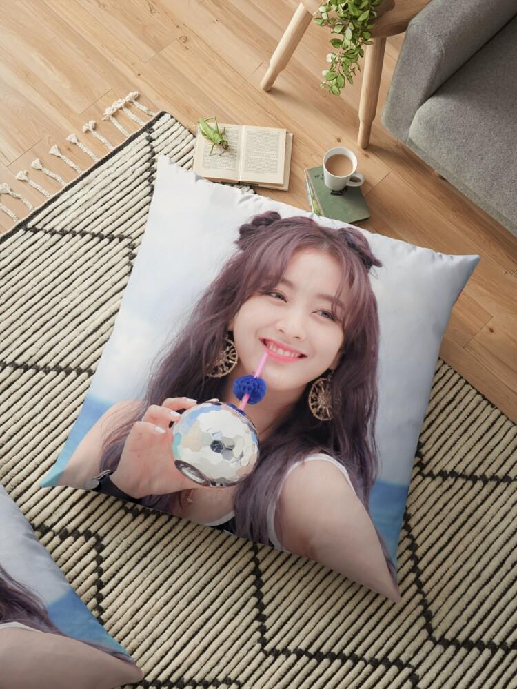 Twice Jihyo Cute Beach Dance The Night Away Floor Pillow By