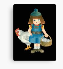doll and chicken Canvas Print