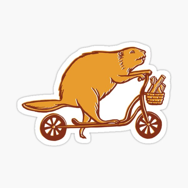 Castor en trottinette Sticker