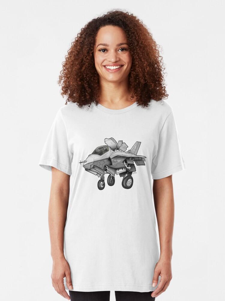 Alternate view of F-35B Lighting II Joint Strike Fighter Illustration Slim Fit T-Shirt