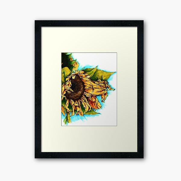 Sunflower Watercolor Framed Art Print