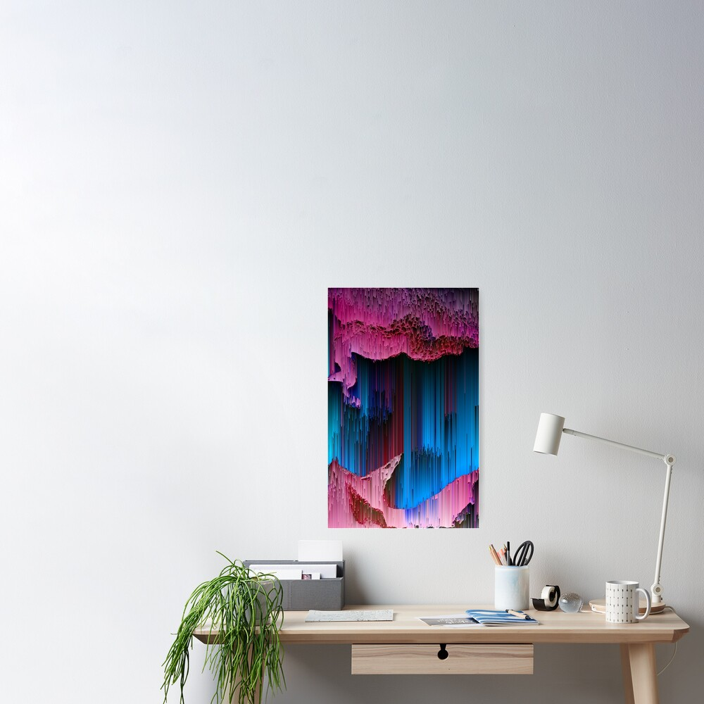 Cotton Candy - Abstract Glitchy Pixel Art Poster