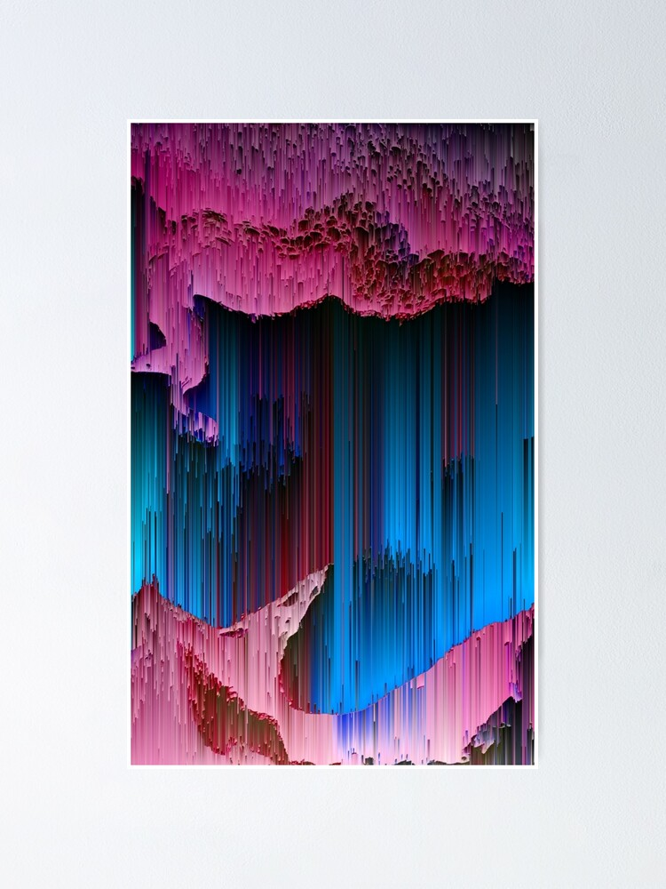 Alternate view of Cotton Candy - Abstract Glitchy Pixel Art Poster