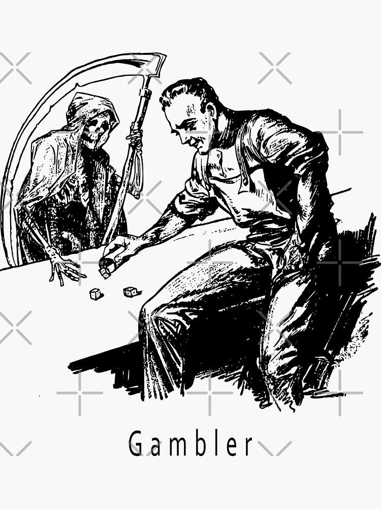Vintage Weird Black White Gambler Death Grim Reaper Design Print by thespottydogg
