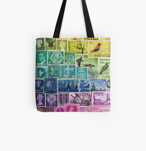 Rainbow Postage Stamps All Over Print Tote Bag