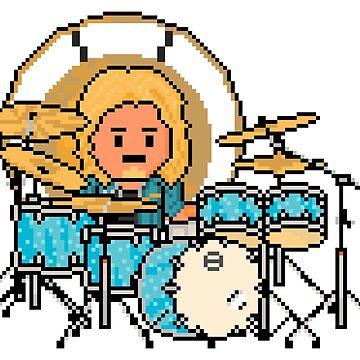 Rock Battle Pixel Rock Drummer on Blue Drums by gkillerb