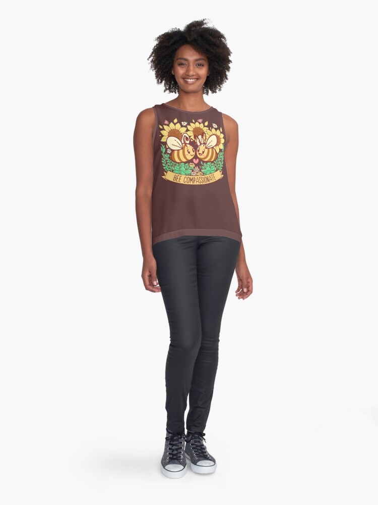 Alternate view of Bee Compassionate - Save the Bees Sleeveless Top