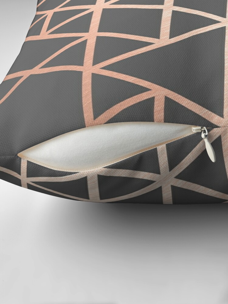 Alternate view of Rose Gold and Gray Geometric Pattern Throw Pillow