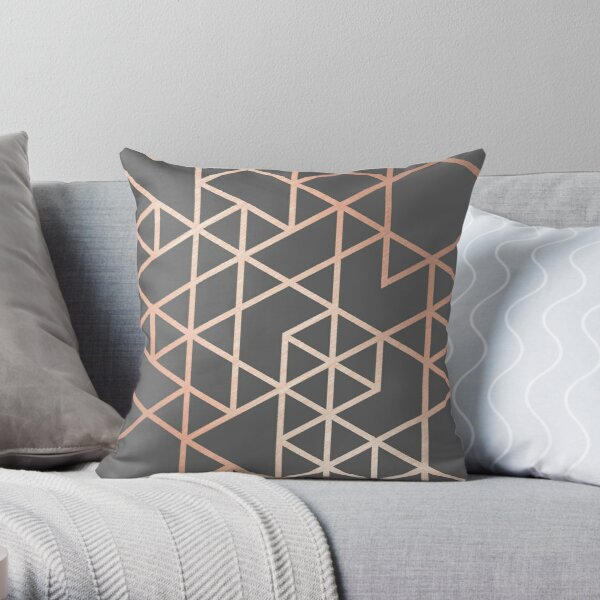 Rose Gold and Gray Geometric Pattern Throw Pillow