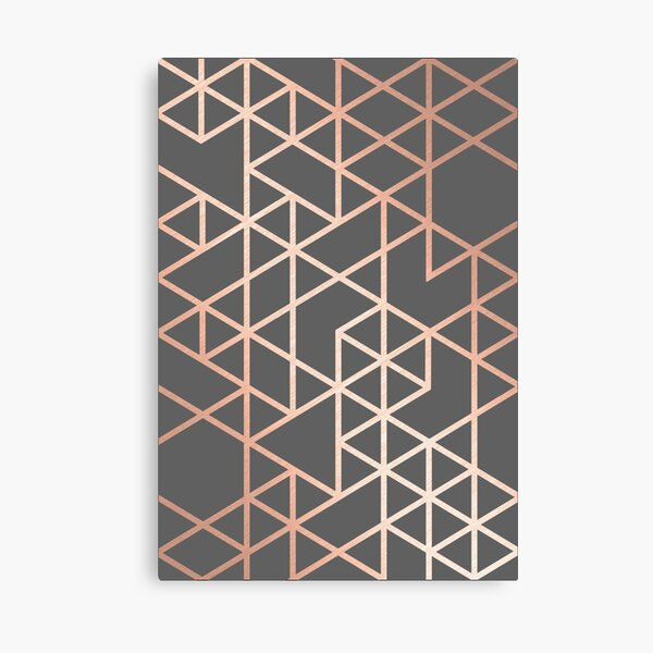Rose Gold and Gray Geometric Pattern Canvas Print