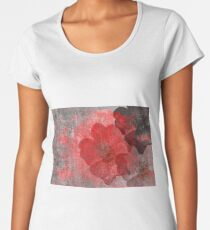 Cool, unique red grey Asian style grungy flower art Women's Premium T-Shirt