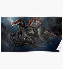 Spinosaurus vs Indominus Rex Dinosaur Battle Poster