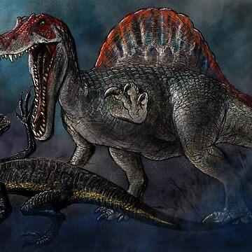 Spinosaurus vs Indominus Rex Dinosaur Battle by BeanieDraws