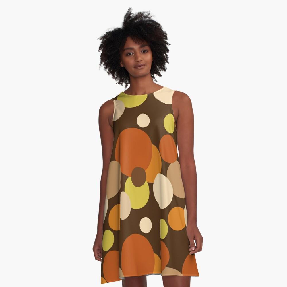 Big 70s polka dots brown A-Line Dress