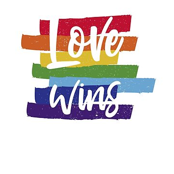 Love Wins, LGBT Rainbow Vintage Lettering by thequeershop