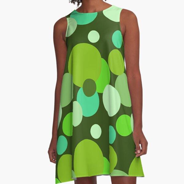 Big 70s polka dots in green A-Line Dress