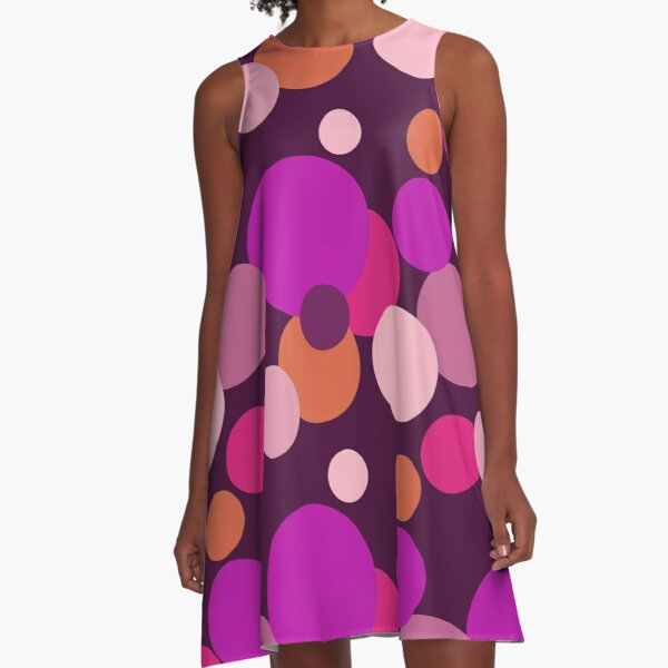 Big 70s polka dots in purple A-Line Dress