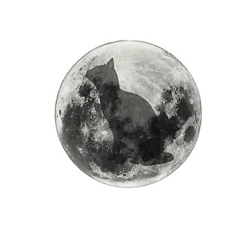 Funny Cat and Moon in black and white by iodesign