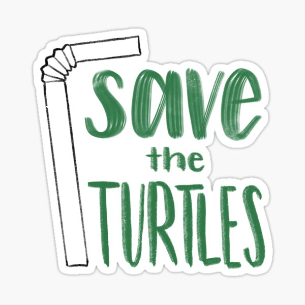 Save the Turtles Straw Sticker