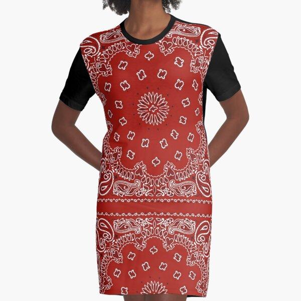 Red Bandana Graphic T-Shirt Dress