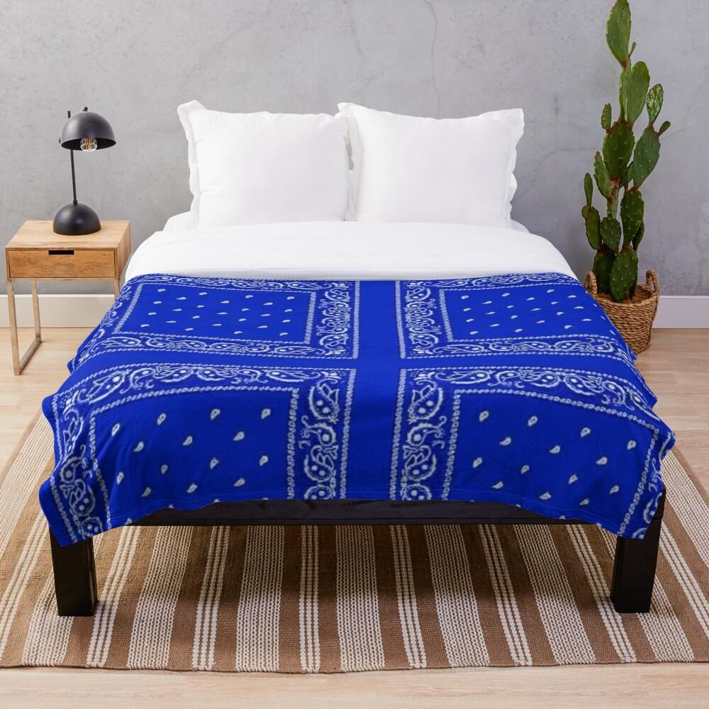 Blue Bandana Throw Blanket