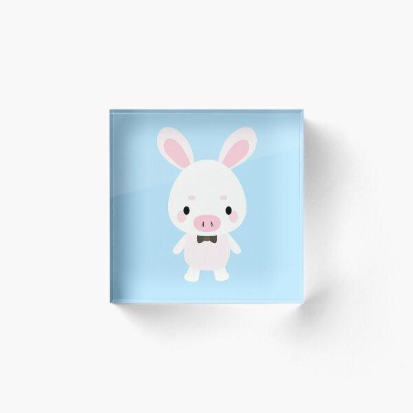 Pig Rabbit Plush You are beautiful Acrylic Block