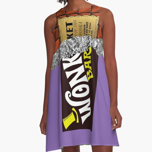 Wonka's Golden Ticket Chocolate A-Line Dress