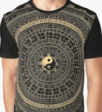 Gold Feng Shui Compass - Geomantic Compass Luopan over Black Canvas Graphic T-Shirt