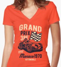 RACING CARS Women's Fitted V-Neck T-Shirt