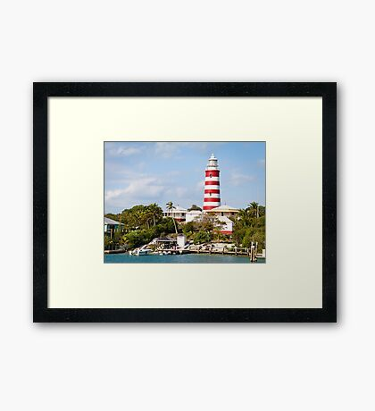 Harbor View of Hopetown Lighthouse, Elbow Cay, Bahamas Framed Print