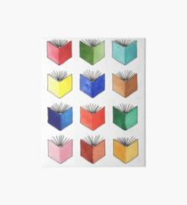 Watercolor Books. Multicolor Rainbow Illustration. Hand Painted.  Art Board
