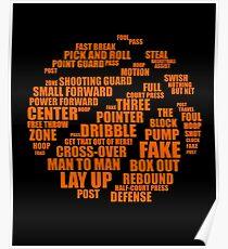 Basketball Motivational Word Cloud Design for Men and Women Poster