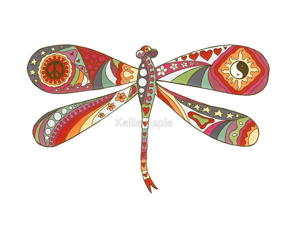 Vintage Psychedelic Dragonfly by Kellie Espie