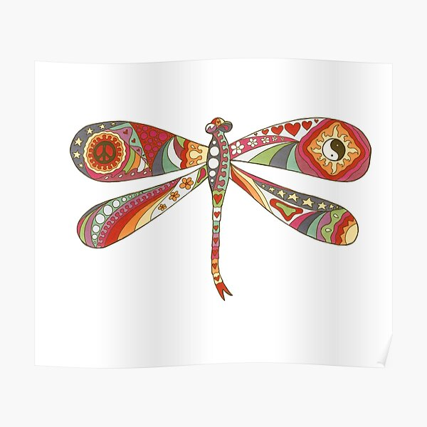 Vintage Psychedelic Dragonfly Poster
