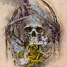 Prevail | Skull, Yellow Rose, Moth and Wildflowers by MegaraWiild