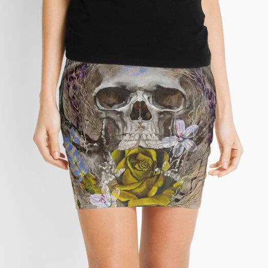 Prevail | Skull, Yellow Rose, Moth and Wildflowers Mini Skirt