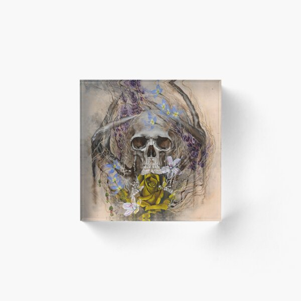 Prevail | Skull, Yellow Rose, Moth and Wildflowers Acrylic Block
