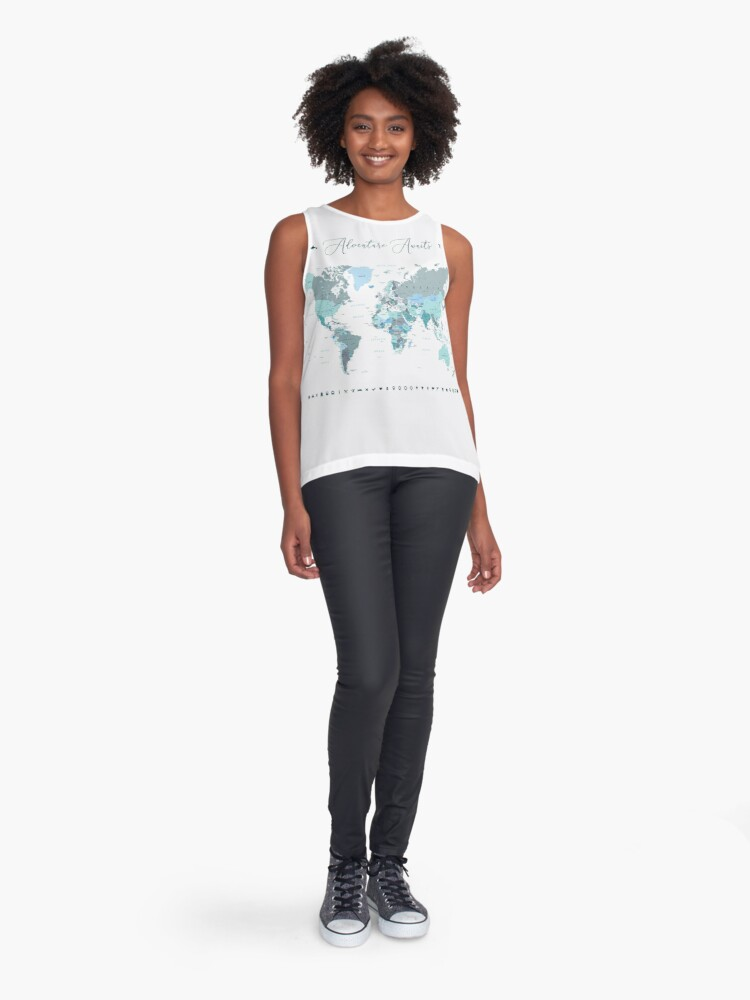 Alternate view of Adventure Awaits World Map in Teal Sleeveless Top