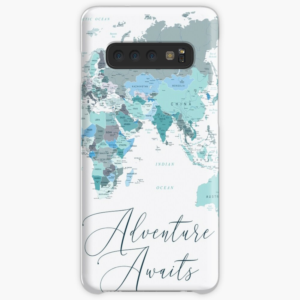 Adventure Awaits World Map in Teal Case & Skin for Samsung Galaxy
