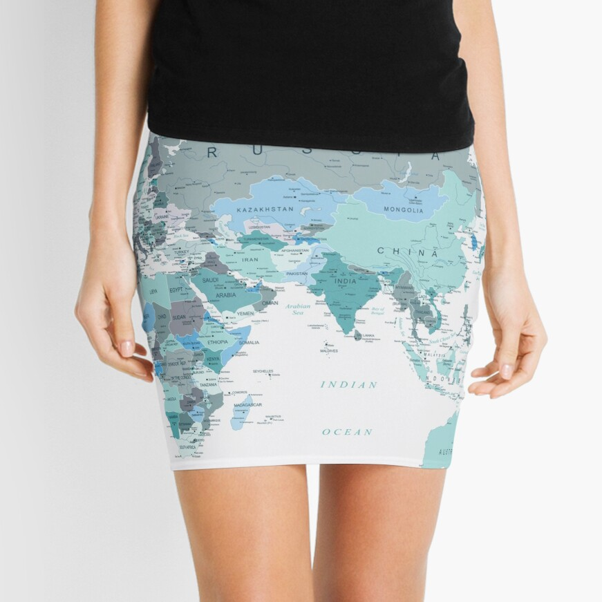 Adventure Awaits World Map in Teal Mini Skirt