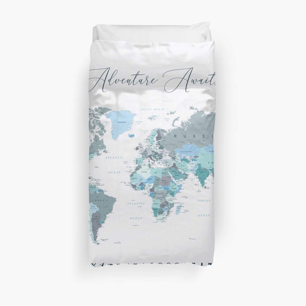 Adventure Awaits World Map in Teal Duvet Cover