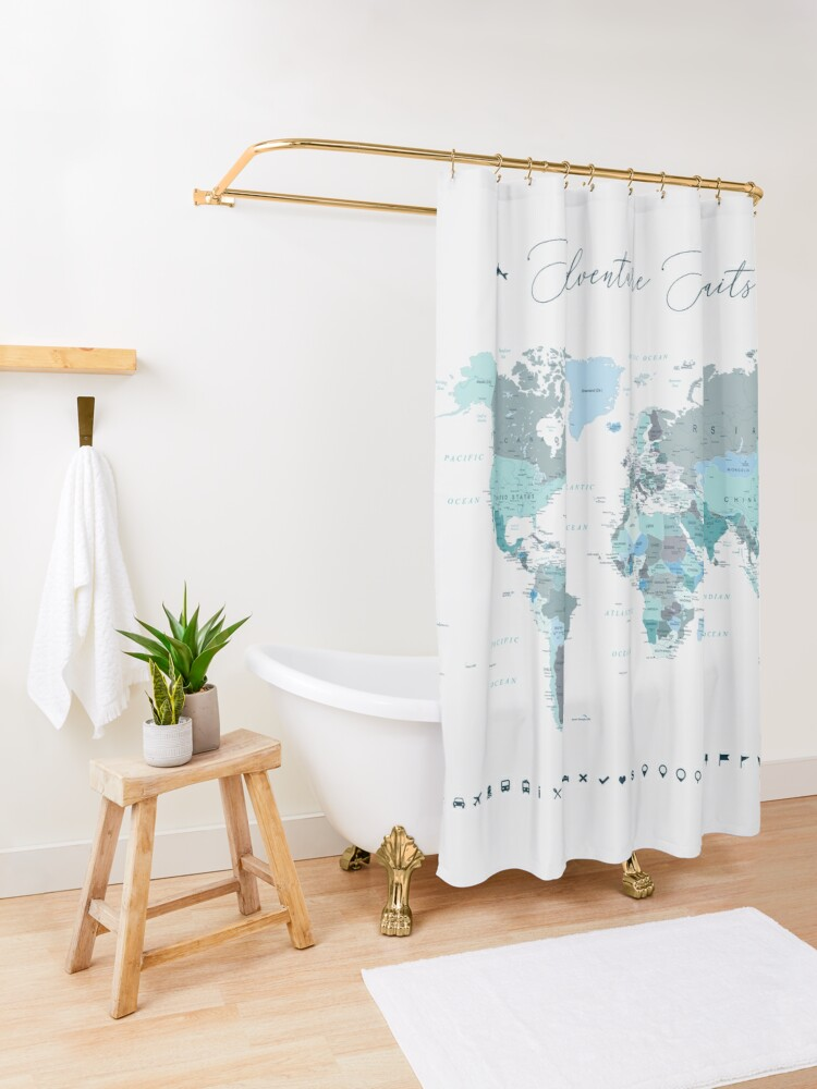Alternate view of Adventure Awaits World Map in Teal Shower Curtain