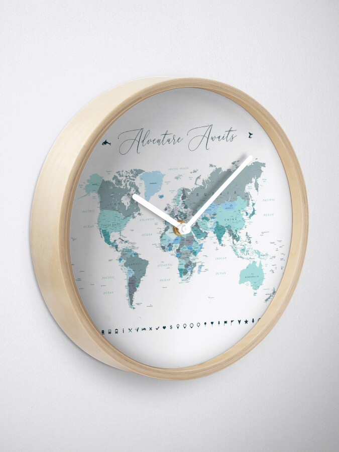 Alternate view of Adventure Awaits World Map in Teal Clock