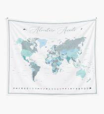 Adventure Awaits World Map in Teal Tapestry
