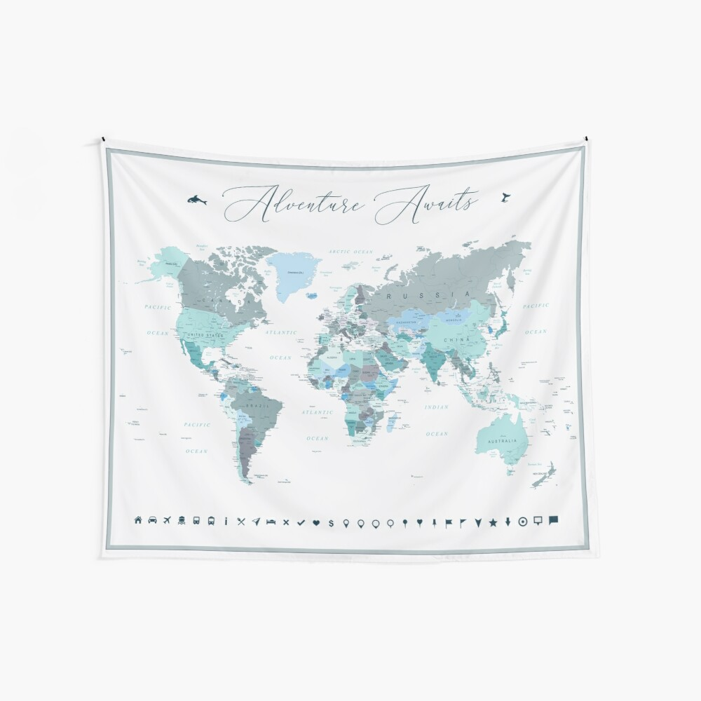 Adventure Awaits World Map in Teal Wall Tapestry