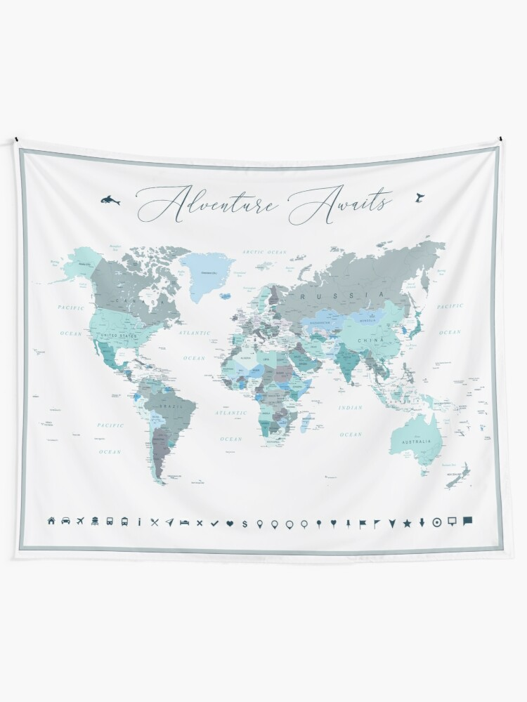 Alternate view of Adventure Awaits World Map in Teal Tapestry