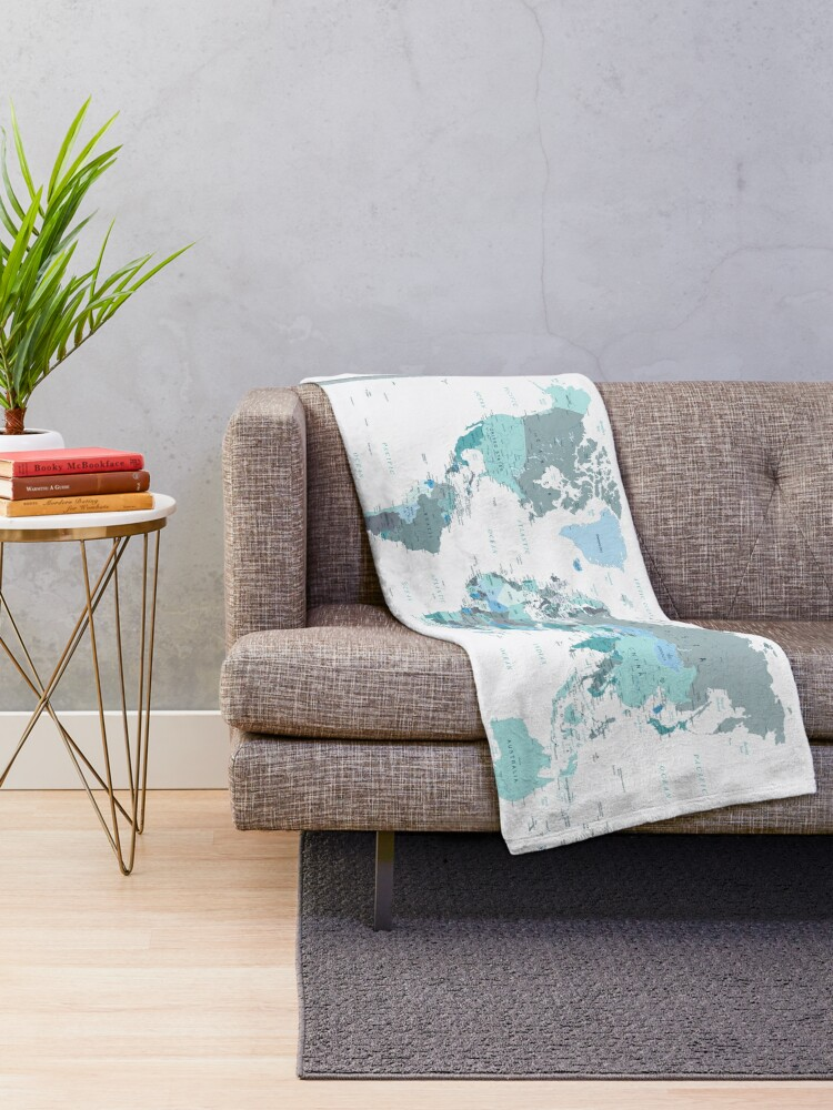 Alternate view of Adventure Awaits World Map in Teal Throw Blanket