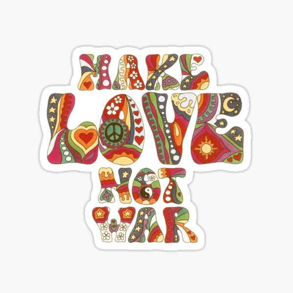 Vintage Love Not War Sticker